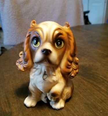 Vtg Porcelain brown and white spaniel puppy with label made in Japan