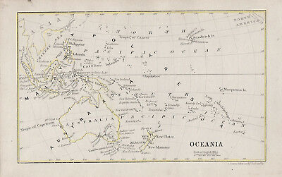 A small engraved map 'Oceania' Australia & New Zealand by John Dower c1852
