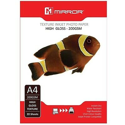 Mirror Texture High Glossy A4 Inkjet Photo Paper 200gsm - 20 Sheets