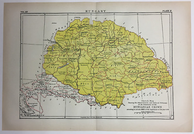 1892 Encyclopedia Britannica Map-Hungary Country Antique Vintage Original Map