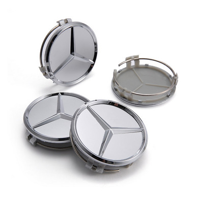 75mm 4Pcs Car Wheel Hub Center Caps Cover Badge Logo For Mercedes Benz Silver