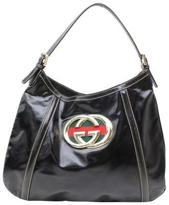 c06426c574f7 Gucci Interlocking Britt Hobo Black Patent Leather Shoulder Bag 867109