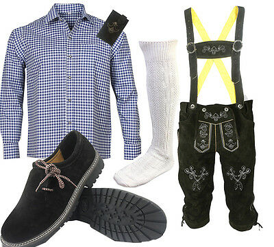 Men's Traditional Costume Set 6tlg Leather Pants with Bavarian Shirt Shoes Socks