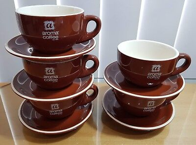 AROMA Coffee Cup And Saucer Set of 5 - Enjoy Coffee or Tea like Café at Home