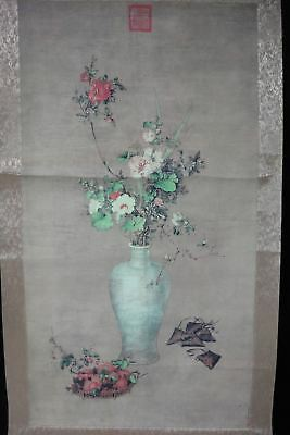 Very Large Rare Chinese Scroll Hand Painting Vase and Flowers with Marks