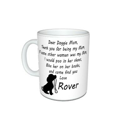Personalised Dog Name(s), Dear Doggie Mum, Thank You Message Mug Gift, Size 11oz