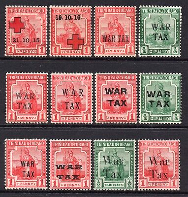 Trinidad Tobago 1915-1918 Red Cross & War Tax range all different mint
