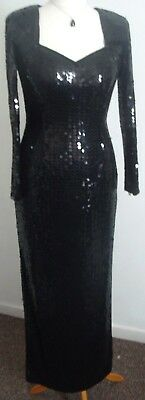 Ladies lined vintage 80s evening dress FRANK USHER size 14 ball dinner cruise