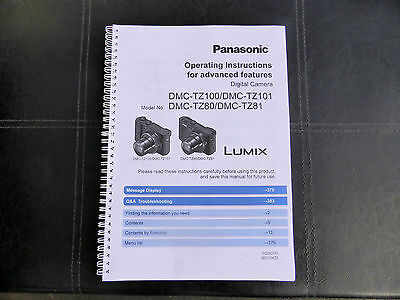 PRINTED Panasonic Lumix TZ80  User guide Instruction manual Colour Manual A4/A5