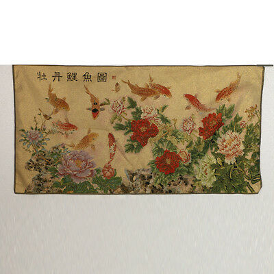 Tibet Collectable Silk Hand Painted  Peony & Goldfish  Thangka RK053+a