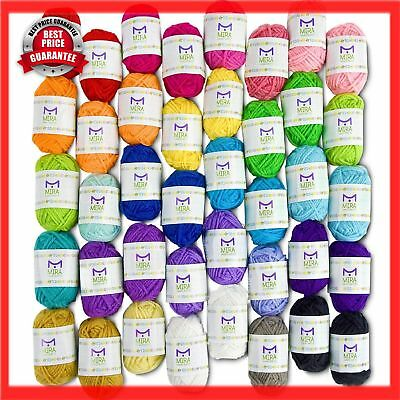Handcrafts 40 Assorted Colors Acrylic Yarn Skeins Knitting Crochet with 7 EBooks