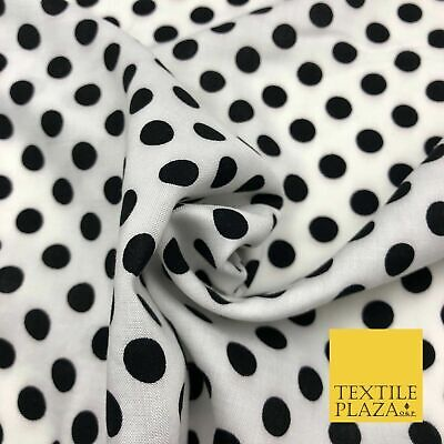 "White with Black Polka Dot Spotted Spot Viscose Dress Fabric Craft 44"" 955"