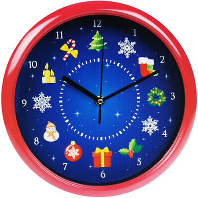 Musical Christmas Singing Wall Clock Festive Xmas Home Office Decoration Gift
