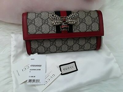 7bef13049ee NWT AUTH NEW Gucci Queen Margaret Bee Continental Wallet  1200 ...