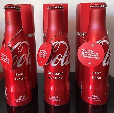 Coca Cola Aluminum Bottle Set of 3 Christmas 2017 Brazil Limited Edition