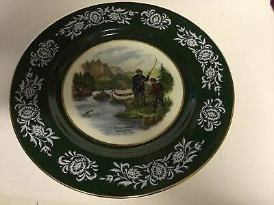 royal sutherland H M collectors plate 27 cm wide, Salmon Fishing, Bone China.
