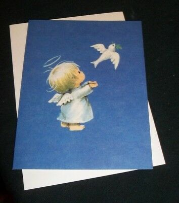 Vintage American Greetings Christmas Card, Angel with dove