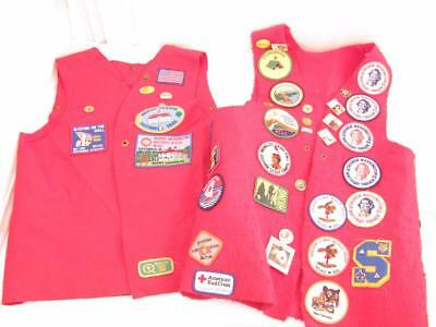 Nation's Capital Area Vintage Eagle Boy Scout Adult 2 Red Felt Vests Patch Pin