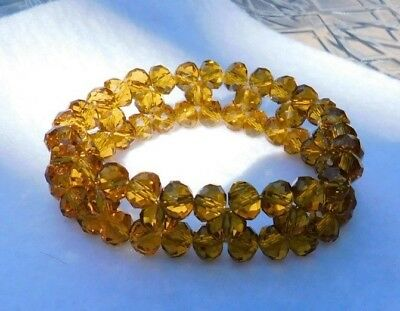 """Amber Color Stone / Bead Bracelet Glass or Crystal Stretch About 3/4"""" W"""