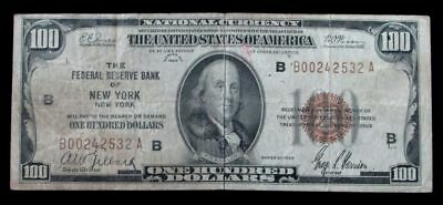 1929 $100 Federal Reserve Bank Of New York, Ny National Currency Banknote