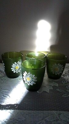 Vintage H J Stotter 4 Plastic Acrylic Glasses Green with Flower Pattern