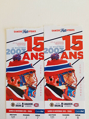 2 Tickets Nov 24th, Bruins vs Canadiens, the Bell Centre