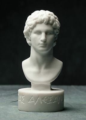 MARBLE bust of Alexander the great statue carved Greek artist sculpture