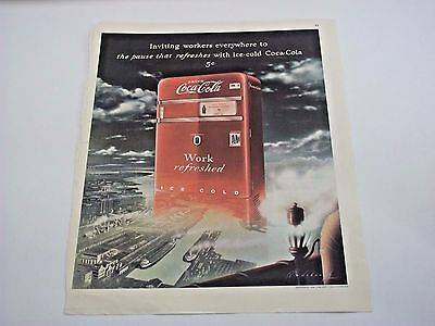 1948 Coca-Cola Print Advertisement Refresh Coke Vending Ad Original Vintage