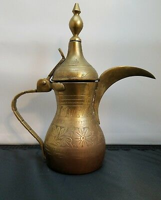 Antique Brass Middle Eastern Arabic Bedouin Islamic Dallah Coffee Pot Engraved