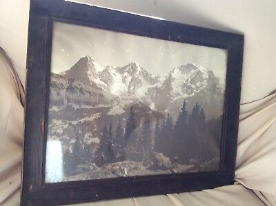 Antique Mission Oak  Arts Crafts Frame W/ Old Western Scenic Mountain Photo