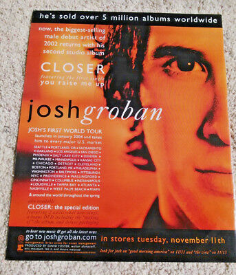 "Josh Groban ""Closer"" 2003 Album 11""x13"" Magazine Advertisement w/ Tour Locations"