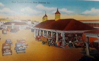 Old Cars at the New French Market New Orleans Louisiana Vintage Postcard