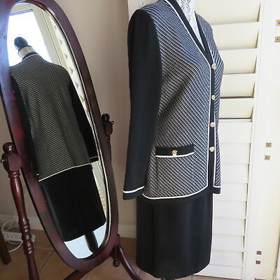 St. John Collection by Marie Gray White Black Knit Skirt Suit Jacket 8 Skirt 10