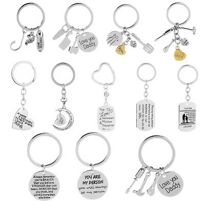 Stainless Steel Pendant Gifts For Mom Dad Lover Keyring Keychains Key Chain Ring