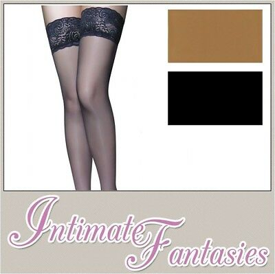 Black Lace Top Hold Up Stockings Tan Plus Size 14 16 18 20 22 Large Thigh High