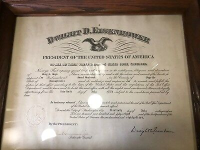 Dwight D. Eisenhower 1958 Presidential Appointment Mt. Braddock, PA Postmaster