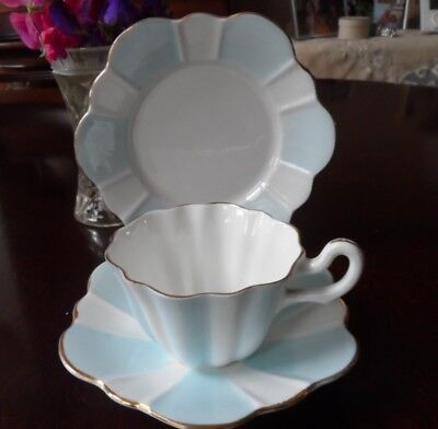 Art Deco Royal Stuart English china tea trio, pale blue & white with gold trim