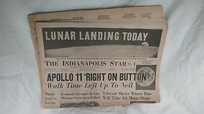 "Apollo 11 Moon Landing ""The Indianapolis Star"" Newspapers July 1969 others"