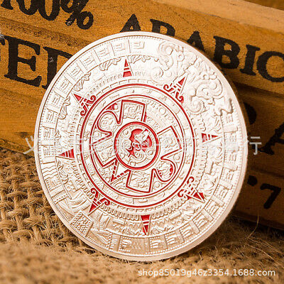 2PCS Mayan Civilization Commemorative Round Collectors Coin Bit Coin Plated Coin