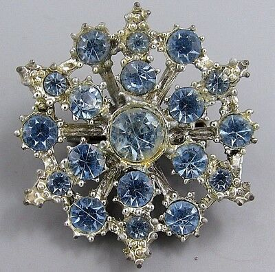 Vintage Jewelry Faceted Sky Blue Crystal Snowflake BROOCH PIN Rhinestone Lot L