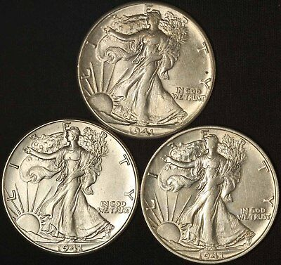 1941 P D S Walking Liberty Half Dollars - Free Shipping USA