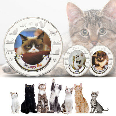 WR 8PCS Cute Cat Colored Silver Coin Animal Kitty Medal Girl Gifts for Cat Lover