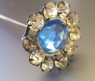 Antique Victorian Hat Pin Blue Crystal With Rhinestones