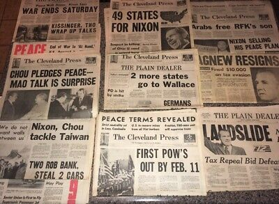 VTG 1969-70's Newspapers-Vietnam,POWs,Nixon Election,Peace Talks,Agnew Resigns