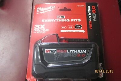 MILWAUKEE 48-11-1890 18V Red Lithium High Demand 9.0 Ah Battery  NEW