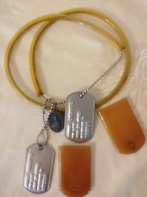 Vintage Military Dog Tags w/Chains,rubber tag and chain cover religious metal