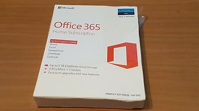 Microsoft Office 365 Home Licence Card 5 Users 1 Year Subscription PC Mac -NEW