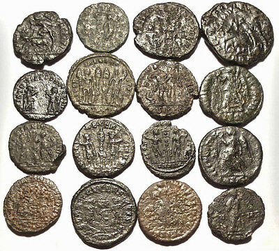 Lot of 16 Æ3-4 Ancient Roman Bronze Coins from IV. Century