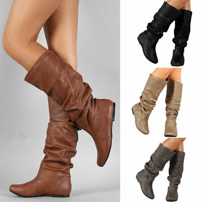 Womens Ladies Leather Knee High Boots Riding Wide Leg Stretchy Flat Shoes Size