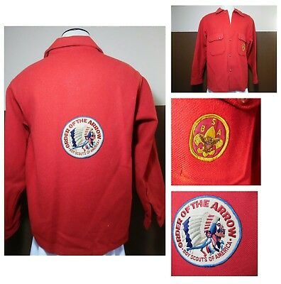 VTG BSA Boy Scouts of America  Red Wool Jacket Order of the Arrow LG Patch Sz 48